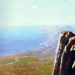Берег моря зі скелею
