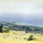 Вид на берег і море з гір. Крим