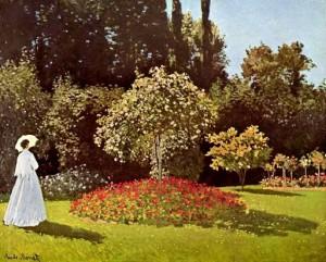 Жанна-Маргарита Лекард в саду 1866