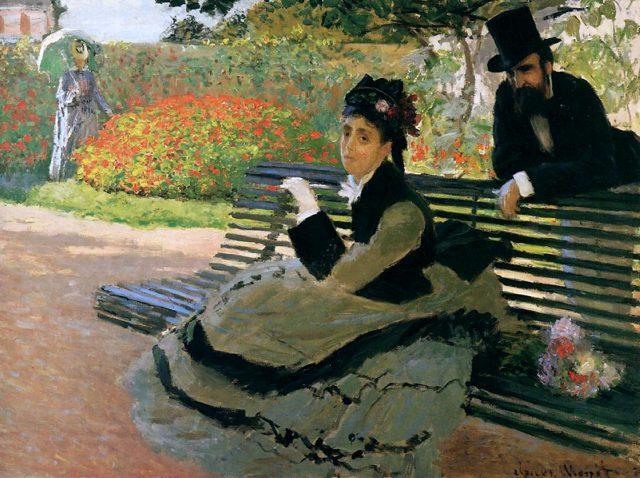 Камилла Моне на садовой скамейке.1873