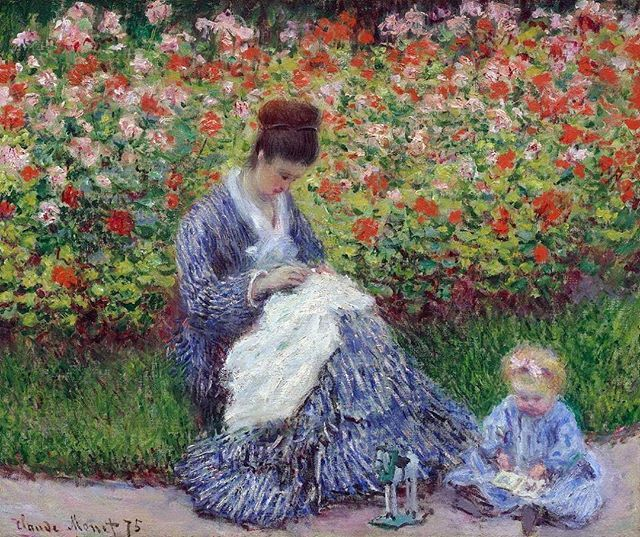 Камилла Моне с ребенком в саду.1875